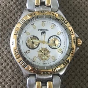 Men's Fossil watch with silver/gold link bracelet
